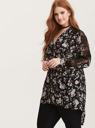 Floral Print Lace Inset Sleeve Button Front Hi-Lo Tunic