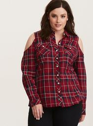 Plaid Twill Cold Shoulder Camp Shirt