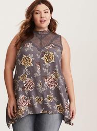 Floral Print Lace Inset Crepe Tank Top