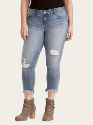 Skinny Jeans - Light Wash with Frayed Ankles and Ripped Destruction