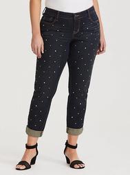 Runway Collection - Premium Boyfriend Jean in Dark Wash with Stone & Stud Embellishments