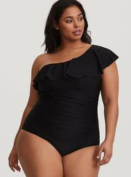 Black Asymmetrical Ruffle One-Piece Swimsuit
