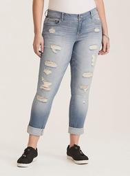 Premium Stretch Boyfriend Jeans - Light Wash with Ripped Destruction