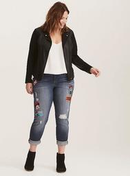 Disney Minnie Mouse Premium Boyfriend Jeans - Dark Wash with Patches