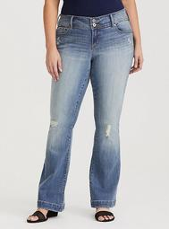 Flared Jean - Distressed Light Wash