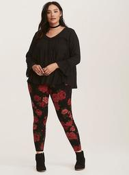 Red & Black Rose Print Full Length Leggings