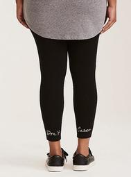 Don't Care Embroidery Cropped Legging