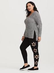 Black Floral Laser Cut Legging