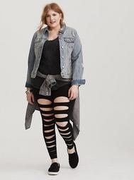 Black Shredded Knit Legging