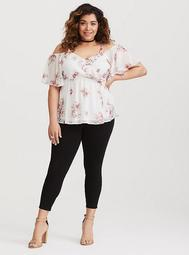 White Floral Cold Shoulder Chiffon Top