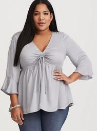 Light Grey Ruched Blouse