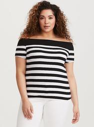 Retro Chic Black & White Stripe Off Shoulder Tee