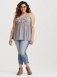 Grey Embroidered Babydoll Tank