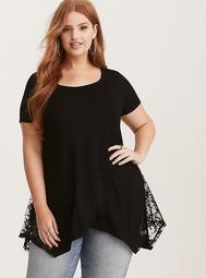 Super Soft Lace Inset Tunic Tee - Regular Length 29""