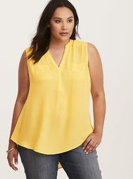 Harper - Yellow Georgette Sleeveless Pullover Blouse