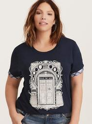 Her Universe Doctor Who Plaid Trim Crew Tee