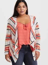 Multicolor Striped Drape Cardigan