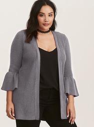 Grey Bell Sleeve Open Cardigan