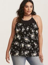 Black Floral Lace Inset Challis Cami