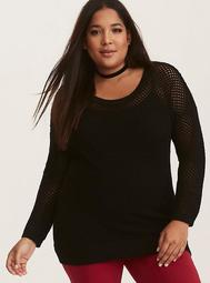 Black Open Stitch Tunic Sweater