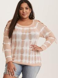 Nude & White Tie-Dye Lace-Up Sweater
