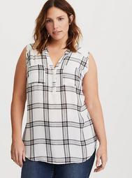 Harper - Plaid Georgette Sleeveless Pullover Blouse