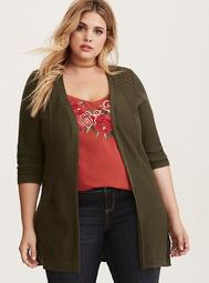 Olive Pointelle Open Front Cardigan