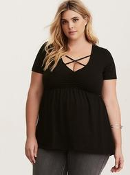 Strappy Cinch Front Babydoll Top