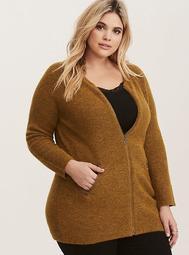 Marigold Yellow Marled Knit Zip Front Sweater Jacket