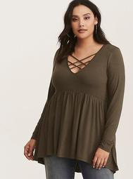 Olive Green Jersey Knit Strappy Babydoll Top