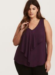 Georgette Ruffled Front Tunic Tank Top