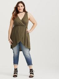 Olive Surplice Knit Tunic