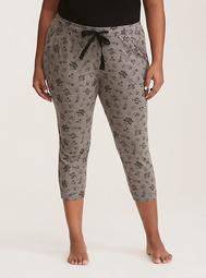 Sleep Sketch Skull Print Cropped Pajama Pants