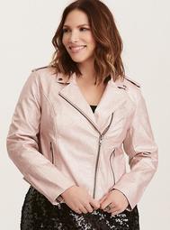 Rose Gold Metallic Faux Leather Moto Jacket
