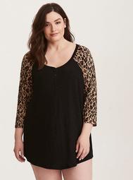 Sleep Leopard Print Henley Tunic