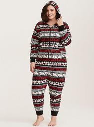 Sleep Hello Kitty Fair Isle Print Fleece Onesie