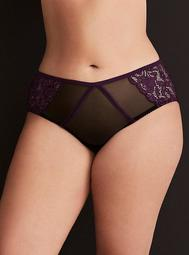 Mesh Side Lace Ruched Back Hipster Panty