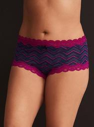 Chevron Print Lace Trim Cheeky Panty