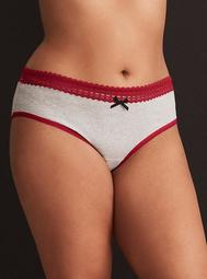 Cotton Lace Trim Hipster Panty