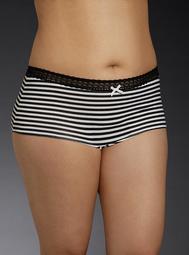 Striped Lace Trim Boyshort Panty