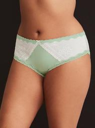 Textured Floral Lace Inset Mesh Back Hipster Panty