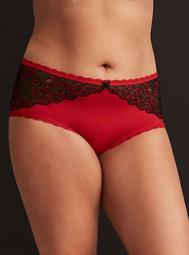 Microfiber & Cross Dye Lace Inset Cheeky Panty