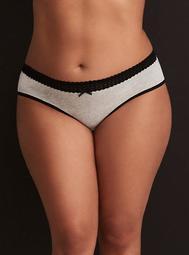 Cotton Lace Trim Hipster Panty