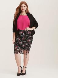 Multi-Color Floral Print Mesh Tie Front Pencil Skirt