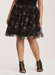 Black & Multi-Color Floral Print Tulle Mini Skirt