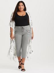 Grey Cropped Cargo Pant