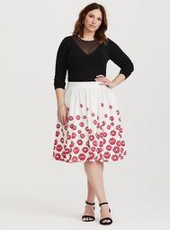 Betty Boop Red & White Lips Midi Skirt