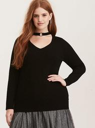 O-Ring Neck Pullover Sweater