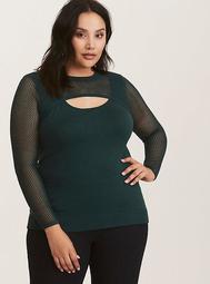 Emerald Green Mixed Stitch Peekaboo Neck Sweater