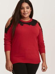 Red Knit & Black Lace Trim Cold Shoulder Sweater